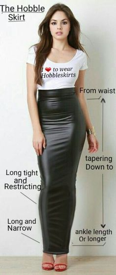 This looks like quite a tight and restrictive rubber hobble dress - very nice. Sexy Skirt, Dress Skirt, Leather Dresses, Leather Skirt, Tight Dresses, Sexy Dresses, Sexy Outfits, Sexy Rock, Hobble Skirt