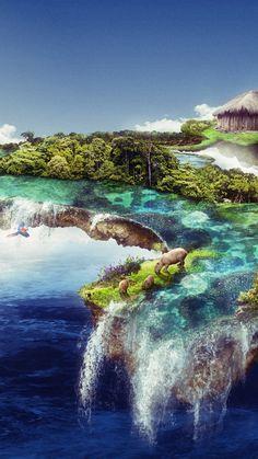 Floating island, waterfall, clouds, wildlife, sea, fantasy, 720x1280 wallpaper