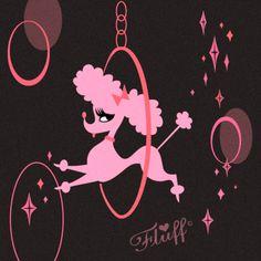 Vintage inspired Pink Poodle by artist Miss Fluff (Claudette Barjoud) www.fluffshop.com