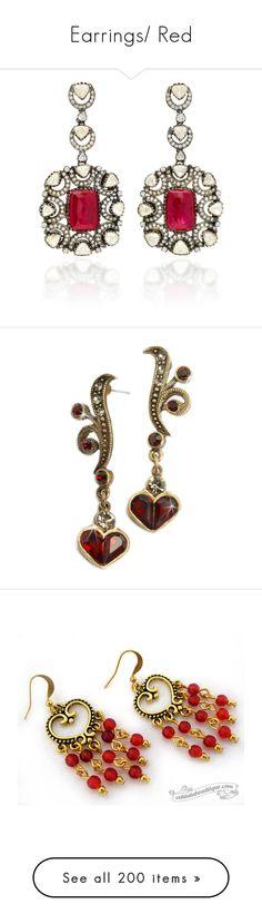 """Earrings/ Red"" by thesassystewart on Polyvore featuring jewelry, earrings, red, red earrings, gold earrings, gold ruby earrings, multi color earrings, gold diamond jewelry, heart shaped earrings and garnet jewelry"