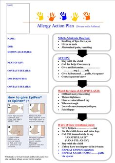 Asthma Action Plan Spanish  School Nursing    Allergies