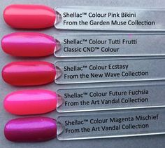 CND shellac color ecstasy compared to other shellac colours pinks
