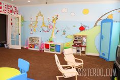 One of a Kind Basement Nursery Renos Playroom Mural, Kids Room Murals, Playroom Ideas, Lucas Nursery, Dr Seuss Nursery, Daycare Organization, Murals Street Art, Nursery Modern, Preschool At Home
