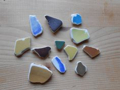 Genuine sea pottery , clear beach pottery,  12 colorful tiny pieces,colored by…