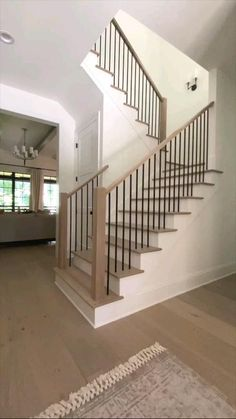 House Staircase, Staircase Remodel, Staircase Makeover, Staircase Railings, Open Staircase, Banisters, Staircase With Landing, Stairway Railing Ideas, Staircase Molding