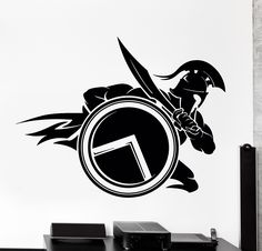 Wall Vinyl Decal Spartan Warrior With Shield And Sword Sparta Home Interior z4060