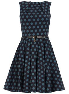 Teal flared polka dot dress