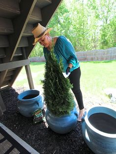 Erika Ward of BluLable Bungalow is planting evergreens large planters to help define the space of her covered patio. That's just one way she's using container gardening to make her patio look terrific. See it on The Home Depot Blog. || @mrserikaward