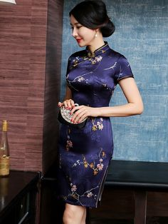 Glam Purple Floral Silk Qipao / Cheongsam Dress - CozyLadyWear