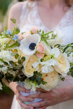 Sweet peas, Patience garden roses, tweedia, eucalyptus, narcissus, and anemones, for a precious spring bridal bouquet! Photo by BY Cherry Photography