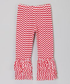 Loving this Red Zigzag Ruffle Pants - Toddler & Girls on #zulily! #zulilyfinds