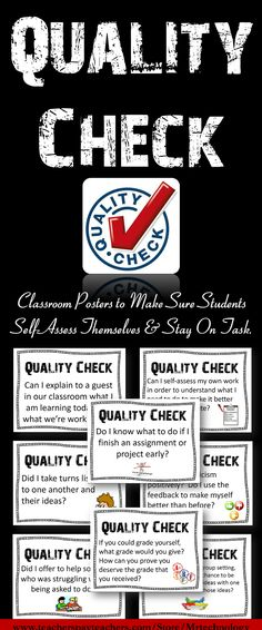 Classroom Posters to Make Sure Students Self-Assess Themselves & Stay On Task.