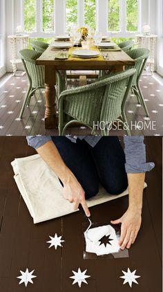 DIY star-stenciled floor | via www.houseandhome.com