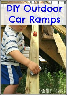 Take the car play outside with these outdoor car ramps. Another car play activity idea.
