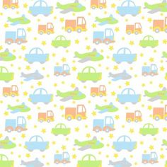 """Bedtime Cars Green Soft Cotton Flannel, 43"""" By The Yard"""