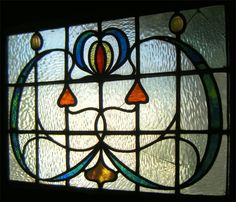 https://flic.kr/p/CtLtqy | arts crafts art nouveau glasgow style stained glass hyndland | Glasgow style, arts and crafts, art nouveau, styled stained glass front door. Including cast glass poppy heads.  Minor repairs. Hyndland.   www.rdwglass.com