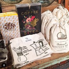 Good morning! I always love seeing our towels on the shelves of our fantastic independent stockists (especially the coffee tea towel which is admittedly my very favorite).  by @shortstackeds who snapped our towels among these breakfast goods at @redbarnmerc in Alexandria Va!