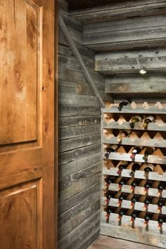 Airdrie, Alberta Timber Frame Home Wine Cellar - Keller Under Stairs Wine Cellar, Wine Cellar Basement, Wine Shelves, Wine Storage, Glass Shelves, Timber Frame Homes, Timber House, Home Wine Cellars, Wine Cellar Design