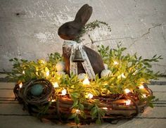 Lighted Grapevine Nest with Primitive Beeswax by WillowBPrimitives easter decorating Lighted Grapevine Nest with Primitive Beeswax Bunny Easter Projects, Easter Crafts, Easter Ideas, Hoppy Easter, Easter Bunny, Oster Dekor, Diy Ostern, Easter Parade, Ideas Geniales