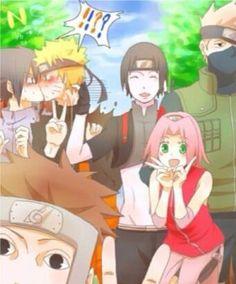 Sakura: I have no idea what's going on :D Kakashi: I'm so do one with you guys Yamato: I'm trying to get in the picture Sai: I ship SasuNaru Sasuke: Wtf are you doing dobe? Naruto: OH MY GOD Naruto Kakashi, Anime Naruto, Naruto Comic, Naruto Shippuden Sasuke, Otaku Anime, Naruto And Sasuke Kiss, Anime W, Naruto Teams, Naruto Cute