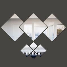 Espelho Decorativo Para Sala De Jantar Quadrados Variados - R$ 208,54 em Mercado Livre
