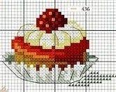 free cross stitch chart Cupcake Cross Stitch, Tiny Cross Stitch, Cross Stitch Fruit, Free Cross Stitch Charts, Cross Stitch Boards, Cross Stitch Kitchen, Cross Stitch Designs, Cross Stitch Patterns, Cross Stitching