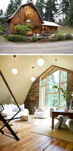 converted barn loft for studio space/ a guest house. Style At Home, Barn Loft, Interior Exterior, Interior Design, Attic Design, Barn Renovation, Barn Living, Old Barns, Architecture
