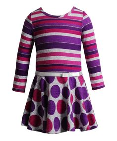 Another great find on #zulily! Purple & Gray Stripe Polka Dot Dress - Toddler & Girls by Youngland #zulilyfinds