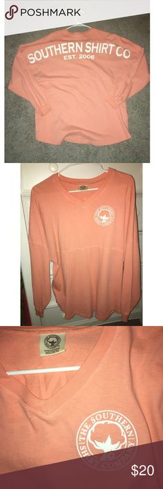 Southern Shirt Company Shirt Bright Orange Southern Shirt Company V-neck Long Sleeve Shirt. Size M. Cute and comfortable shirt. Some of the letters are cracking as shown in the third picture. Southern Shirt Company Tops Tees - Long Sleeve