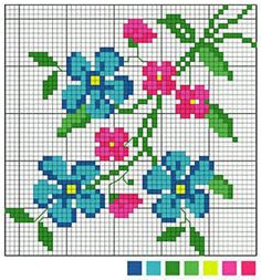 Pink and Blue Flowers. Cross stitch chart. #cross_stitch