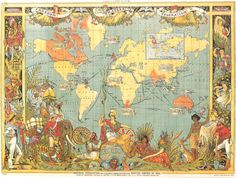 Inch Print (other products available) - MAP: BRITISH EMPIRE, Map, of the British Empire by Walter Crane. The small insert shows, in red, the extent of the British territories in - Image supplied by Granger Art on Demand - print made in the UK