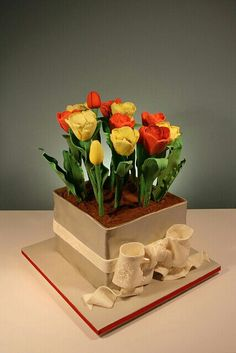 Flower pot cake with tulips