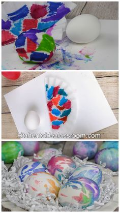 Learn how to decorate Easter eggs with washable markers and coffee filters. Plus two more easy egg decorating ideas! eggs huevos de pascua How to Decorate Easter eggs with Washable Markers- 3 Easy Ways - The Kitchen Table Classroom Easter Egg Dye, Easter Art, Coloring Easter Eggs, Easter Crafts For Kids, Painting Eggs For Easter, Fun Easter Ideas, Easter Ideas For Kids, Easter Egg Hunt Ideas, Shaving Cream Easter Eggs