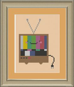 Kawaii television cute crossstitch pattern by nerdylittlestitcher, $3.00