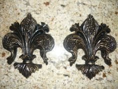 Fleur de Lis Wall plaques. Hand Made and Hand Finished. Old World, Medieval Decor.