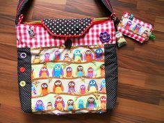 Tasche+Schultertasche+Handtasche+Eule+Owl+Applikat+von+Zellmann+Fashion+auf+DaWanda.com