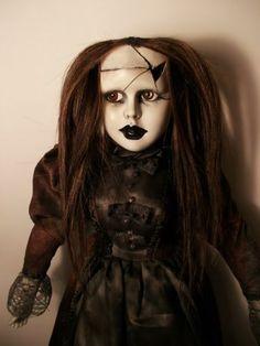 Creepy LG Gothic Mourning cracked Doll Custom Repaint OOAK Artist porcelain