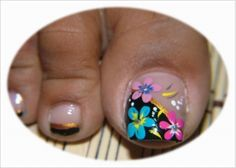 uñas decoradas de los pies CON FLORES - Buscar con Google