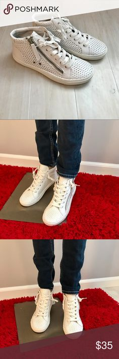 new arrival d2fd9 d82e3 DV by Dolce Vita White Perforated High Top Sneakers with Silver Zipper  Detail!! 3-Sizes Available! DV by Dolce Vita Shoes Sneakers