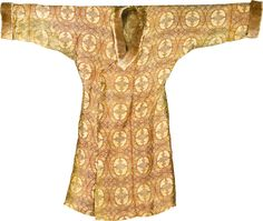 http://www.sothebys.com/en/auctions/ecatalogue/2013/arts-of-the-islamic-world-l13220/lot.126.html A magnificent silk lampas robe and feathered hat, Central Asia, 11th/12th Century  the coat of characteristic form with long sleeves and open front, with an earthy red ground decorated in yellow, blue, green and white with repeating roundels