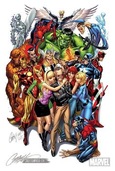 """Stan Lee and company (art by J. Scott Campbell) - Creator and co-creator of mulitiple Marvel superheroes and villains, Stan Lee has been icon for all comic book pioneers and industries ~ """"True Believers"""" Marvel Dc Comics, Anime Comics, Bd Comics, Marvel Vs, Marvel Heroes, Comic Book Characters, Marvel Characters, Comic Character, Comic Art"""