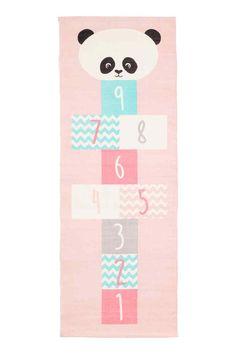 Tapis en coton à motif - Rose clair/panda - Home All   H&M FR