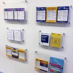 Leaflet Holders Clear Acrylic Pockets With Stand Off Fixings inside size 900 X 900 Wall Mounted Literature Holders - You just attach the back plat Brochure Display, Brochure Holders, Market Displays, Museum Displays, Children's Clinic, Plexus Products, Clear Acrylic, Wall Mount, Literature