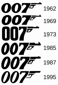 jamesbondlexicon: Evolution of the 007 Logo james bond movies Thème James Bond, James Bond Party, James Bond Theme, James Bond Movie Posters, James Bond Movies, Film Posters, Bond Girls, Sean Connery, Gentlemans Club