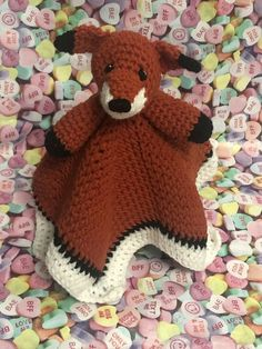 $12.26 Handmade - Crochet - Baby's Security Blanket/Comforter - Fox #BabyCribBeddingSets #NurseryBeddingSet