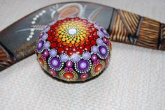 Hand Painted Mandala Stone/ Medium Mandala/ Table by Mandalaole