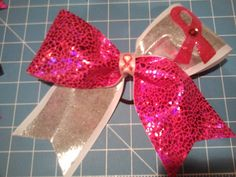 Breast Cancer Cheer Bow- Large Texas Size Pink Ribbon and Pink Shattered Glass Spandex on Etsy, $11.50