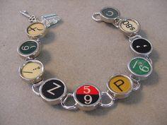 TYPEWRITER KEY bracelet  Random Mix of Rare by magiccloset on Etsy, $42.00