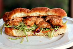 Bang Bang Shrimp PoBoy with Tangy Broccoli Slaw....from Recipes For Divine Living: