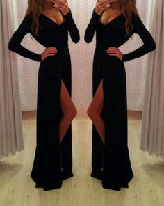 Sexy Prom Dress V-Neck Prom Dress Long Sleeve Prom Dress Sheath Prom Dress